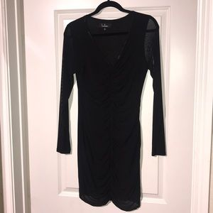 LBD with sheer sleeves